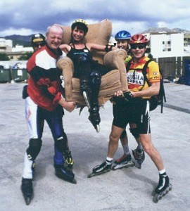 Kathie Being Hoisted by 		4 Swedes in Mallorca